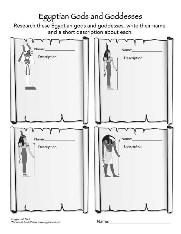 Print this Egyptian Gods and Goddesses FREE Worksheet