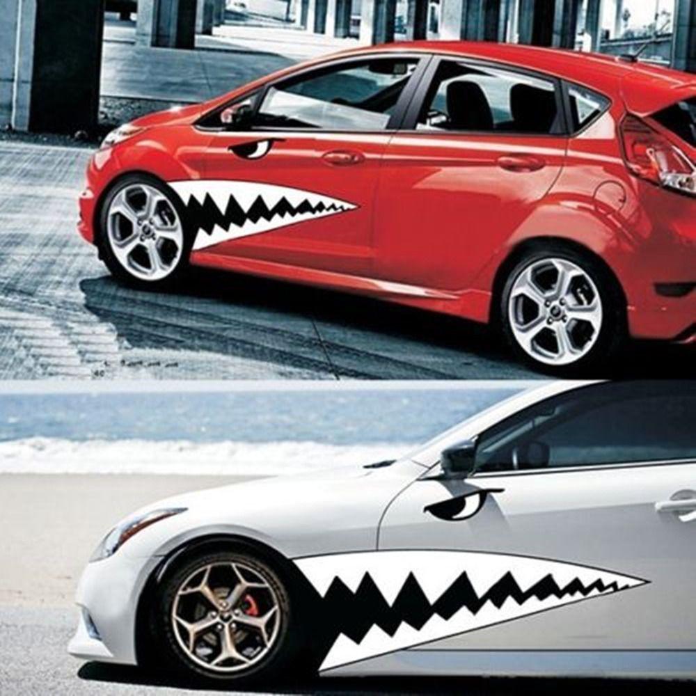 2pcs Waterproof Diy Shark Teeth Car Body Sticker Auto Tooth Vinyl Graphics Decal Cute Car Decals Girly Car Decals Car Sticker Design [ 1000 x 1000 Pixel ]