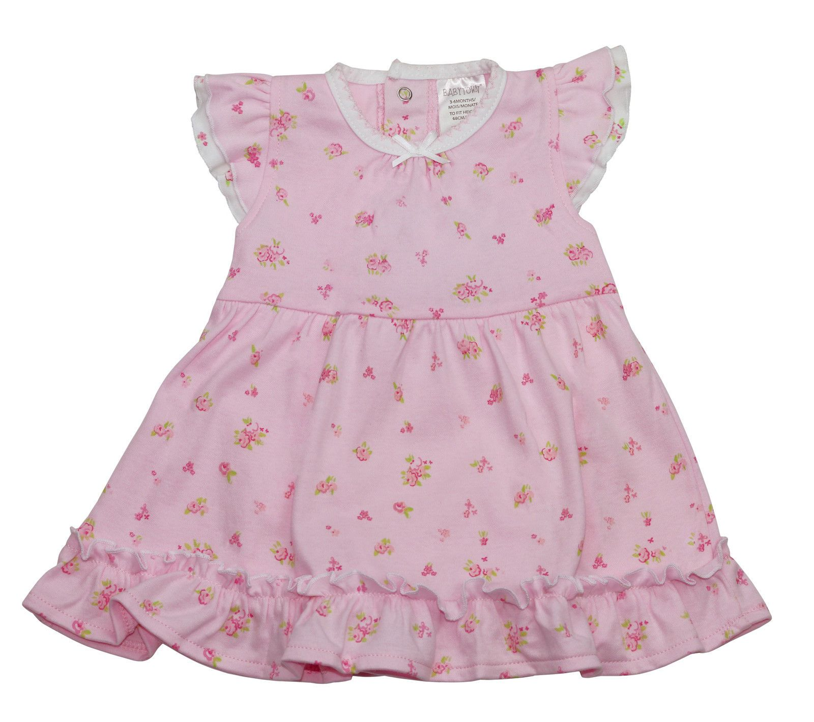 aaa09bc3 Pink Cute Girls Premature Baby Vintage Ditsy Dress with ruffled hem by Baby  Town