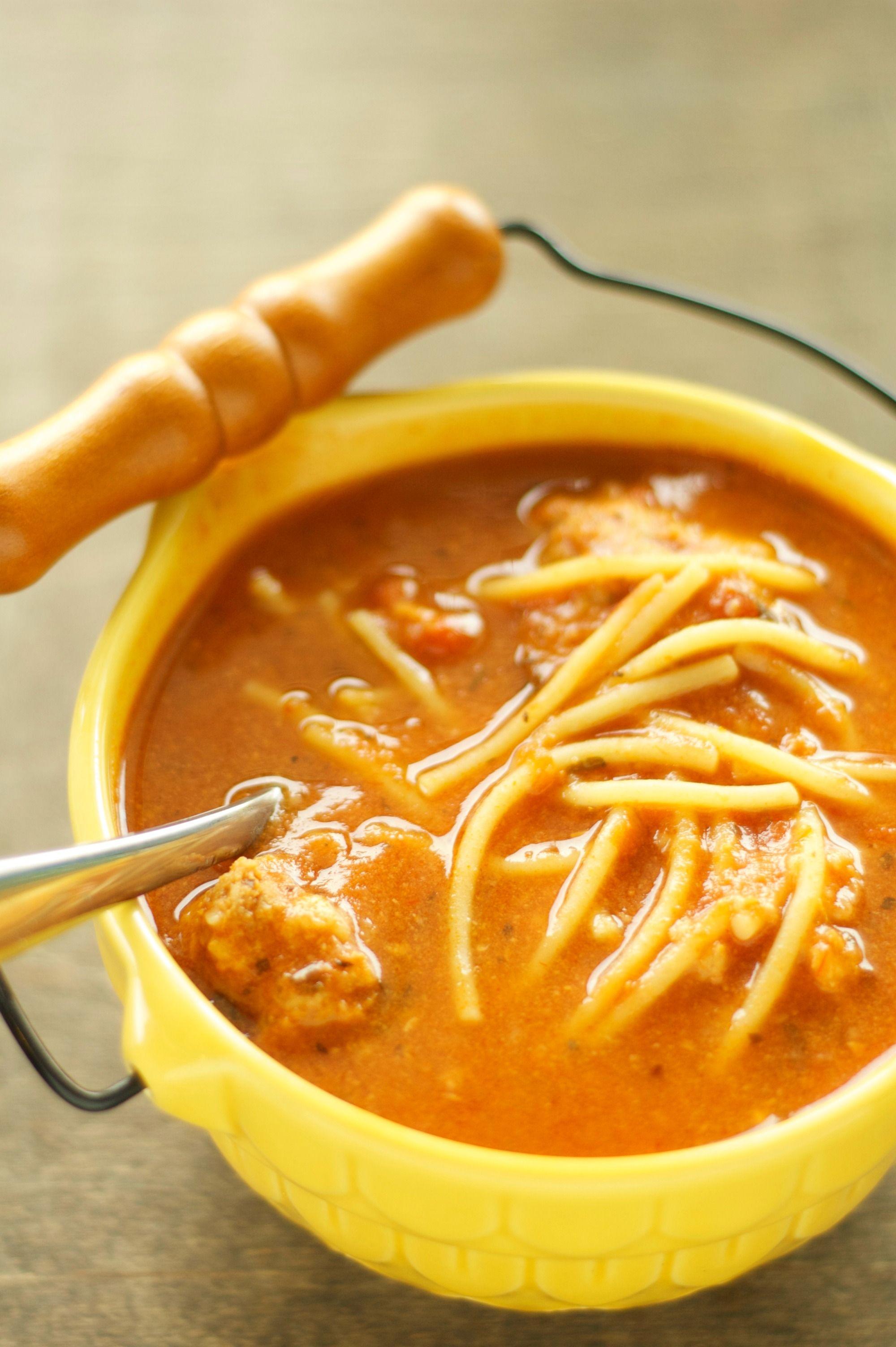 Crockpot spaghetti and meatball soup for freezercrockpot