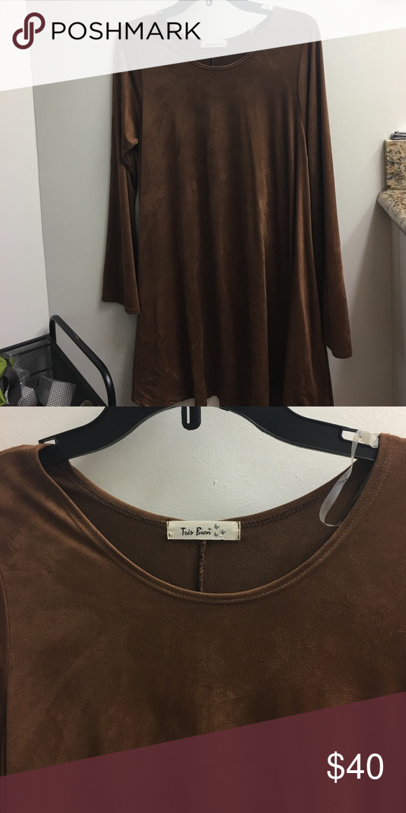 A-line flowy brown faux suede top. Bell sleeves, never-been-worn, mint condition, silky soft, beautiful top. tres bien Tops Tunics