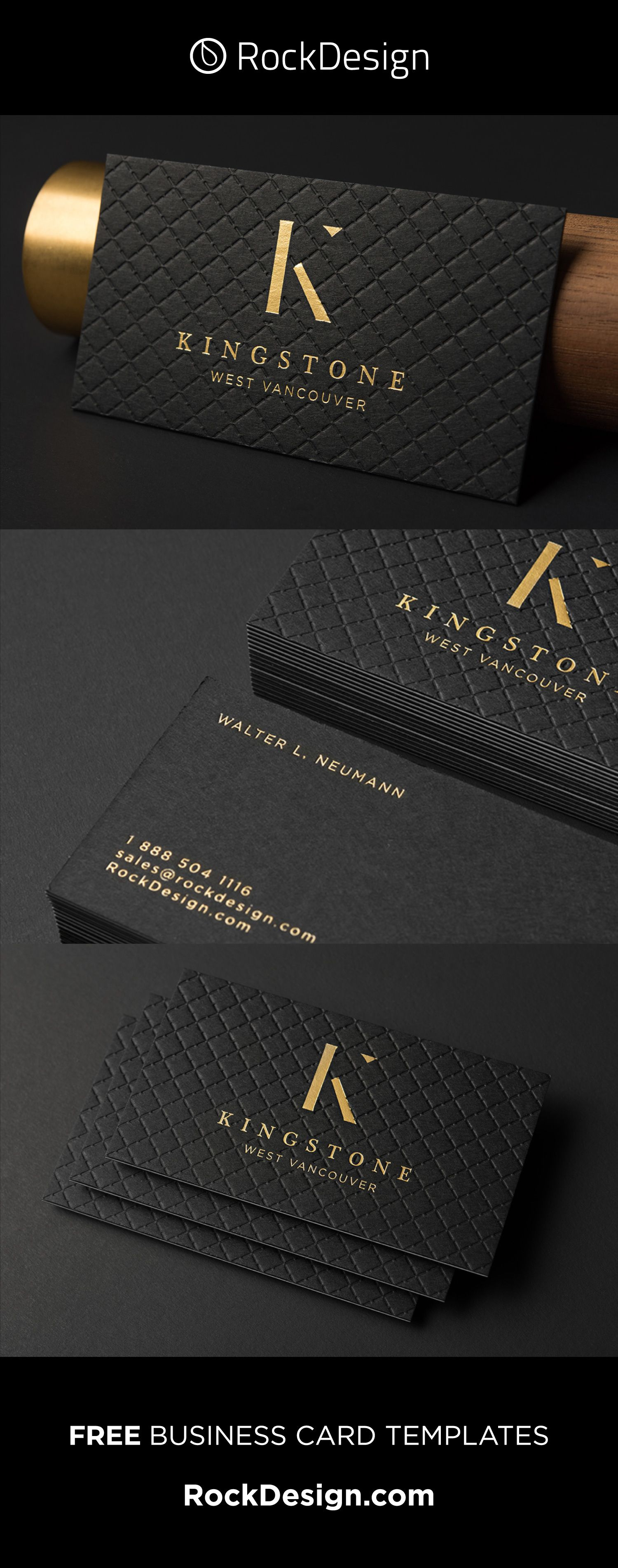 Luxury Realtor Triplex With Gold Foil Business Card Template Kingstone Foil Business Cards Gold Foil Business Cards Business Card Design Black