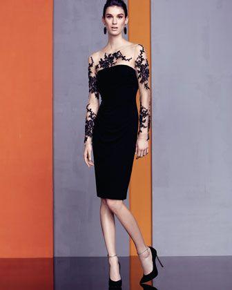 Ausgezeichnet David Meister Illusion Spitze Cocktail Kleid Fotos ...