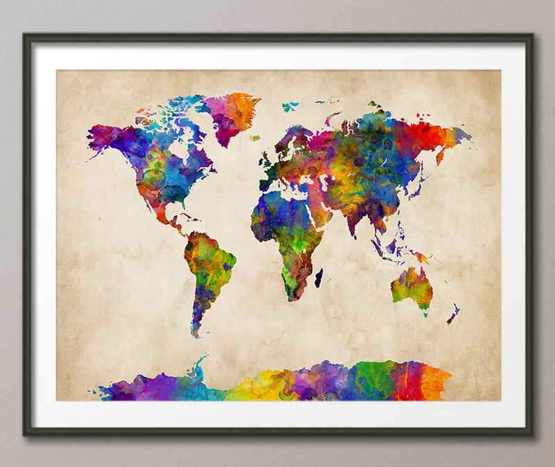 Watercolor map of the world map art print 2119 by artpause on watercolor map of the world map art print 2119 by artpause on etsy gumiabroncs Image collections