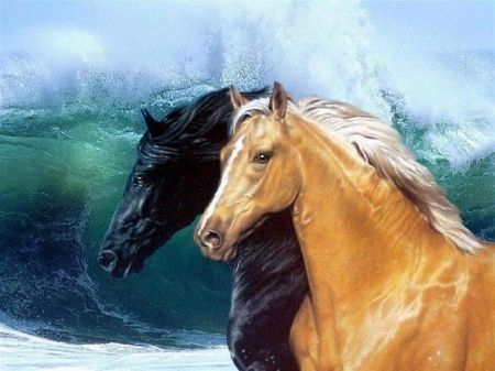 HORSES IN WAVES - nature, Horses, animals, Waves, painting