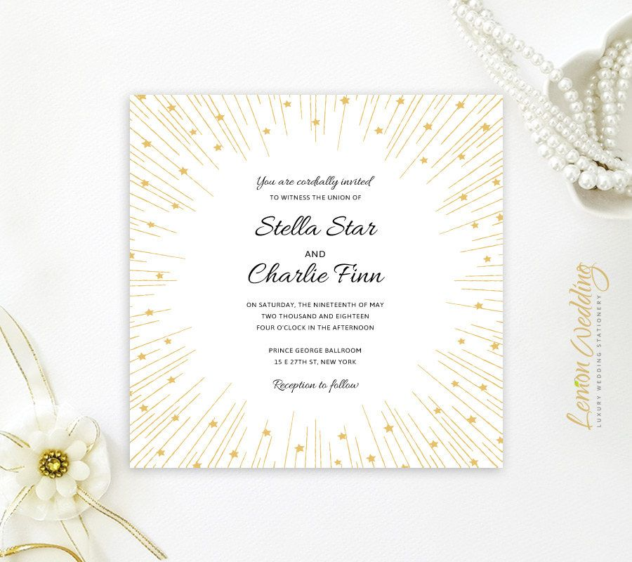 Starry wedding invitation | Gold square Wedding Invitations printed ...