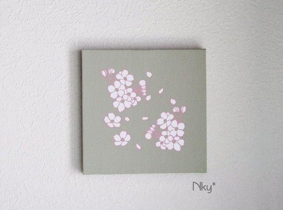 Photo of 桜のファブリックパネル M-101◆グリーン/白