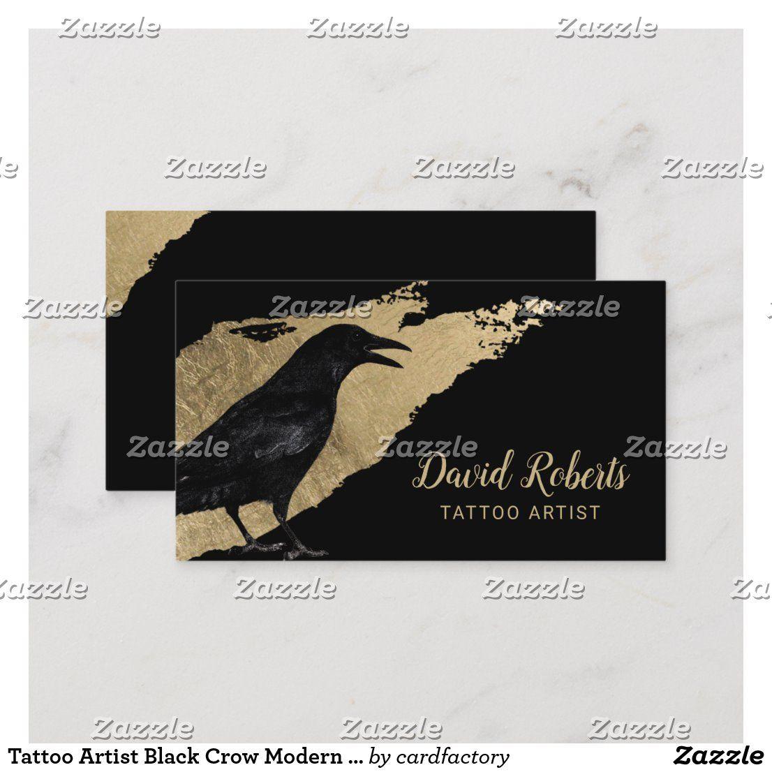 Tattoo Artist Black Crow Modern Gold Brush Stroke Business