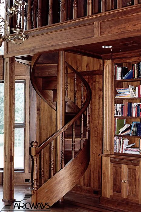 Best 70S Custom Spiral Staircase Arcways Custom Black Walnut 400 x 300