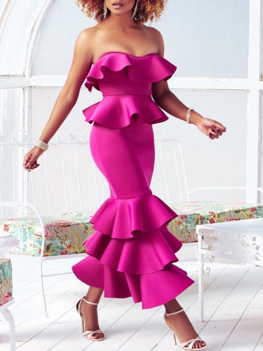 Evening Dresses Midi Dress Party Layered Ruffle Dress Strapless Ruffle Dress [ 1200 x 900 Pixel ]