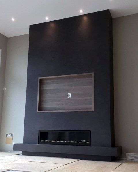 Black Fireplace Wall With Built In Wood Recessed Tv Frame Black Fireplace Wall Living Room Tv Wall Living Room With Fireplace