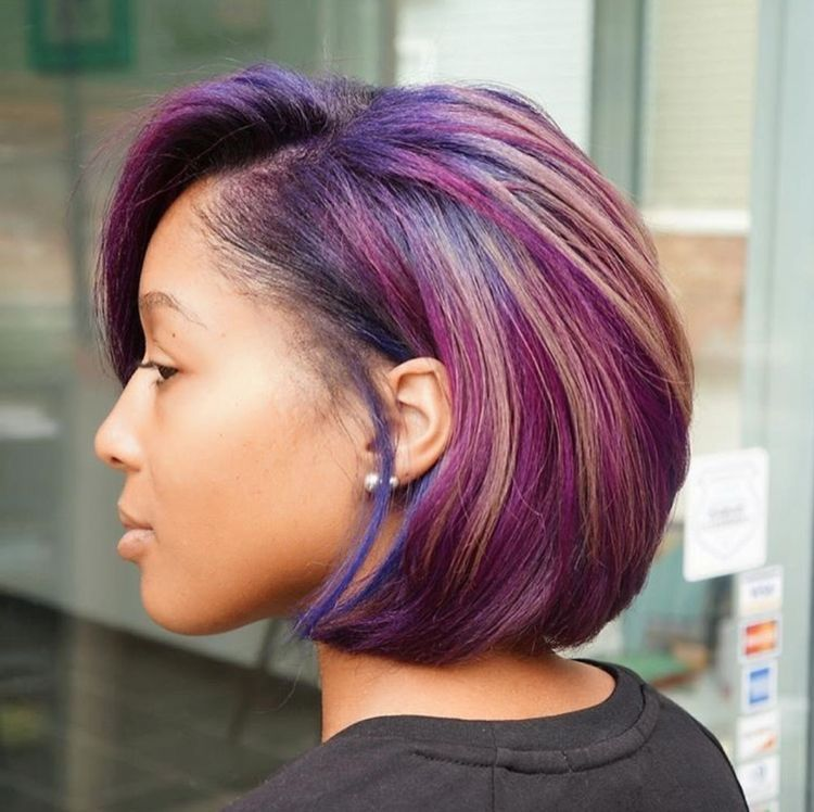 Peanut Butter And Jelly Hair Aka Purple And Blond Highlights Natural Hair Styles Hair Summer Hair Color