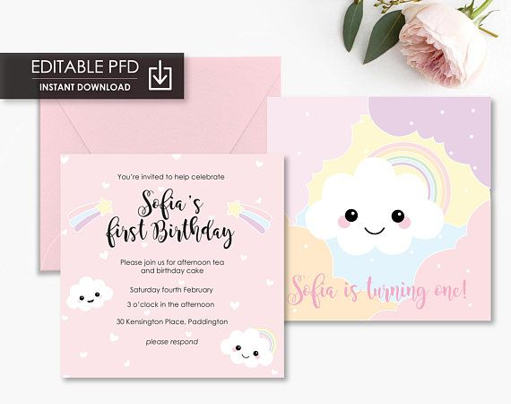 Printable Birthday Cloud Rainbow Invitation Editable Invitation