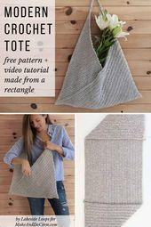 Beginner Crochet Tote Bag - Free Modern Pattern for Spring + Summer  Beginner Cr...