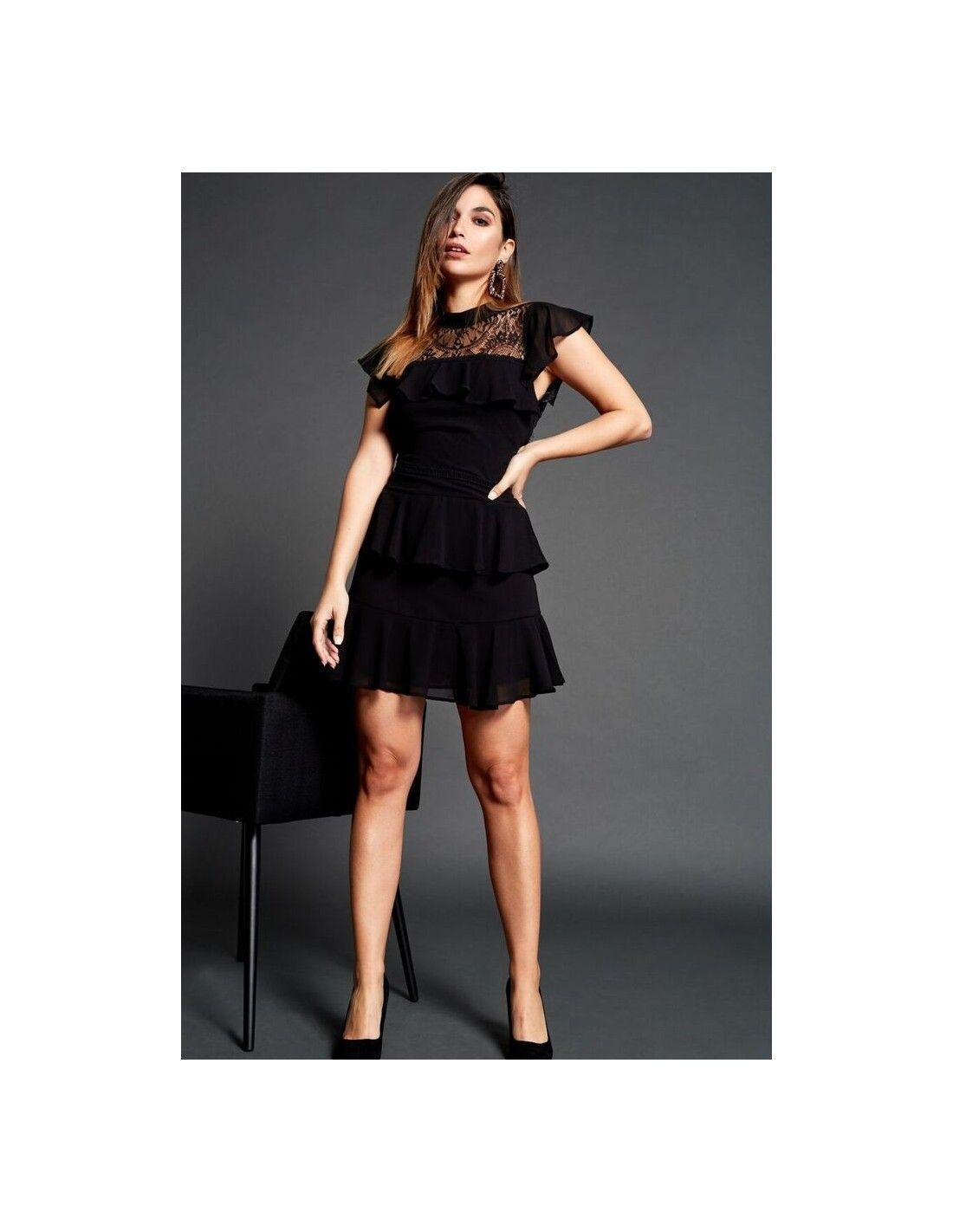a9a6065407 Vestido Almada - Vestido de gasa en color negro. Cuello mao. Detalle en el