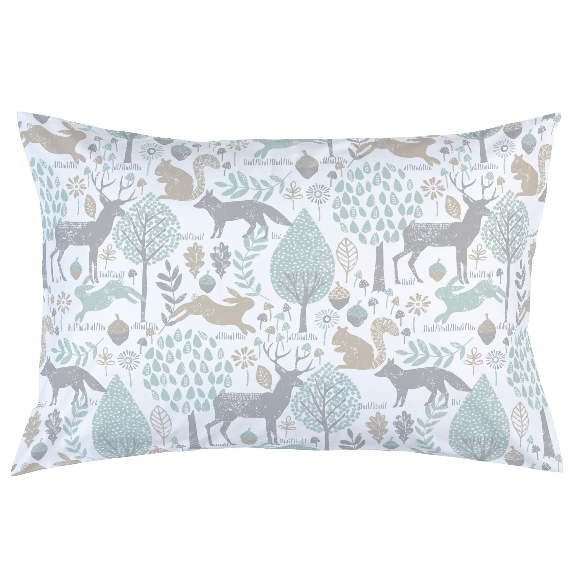 Gray and Taupe Woodland Animals Pillow Case