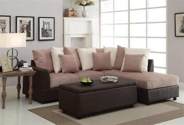 Barlow Light Brown Fabric Pu Sectional Sofa W Pillows Sectional Sofa Sectional Large Loveseat