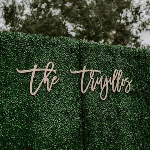 Large Wedding Last Name Sign, Hedge Backdrop Sign,