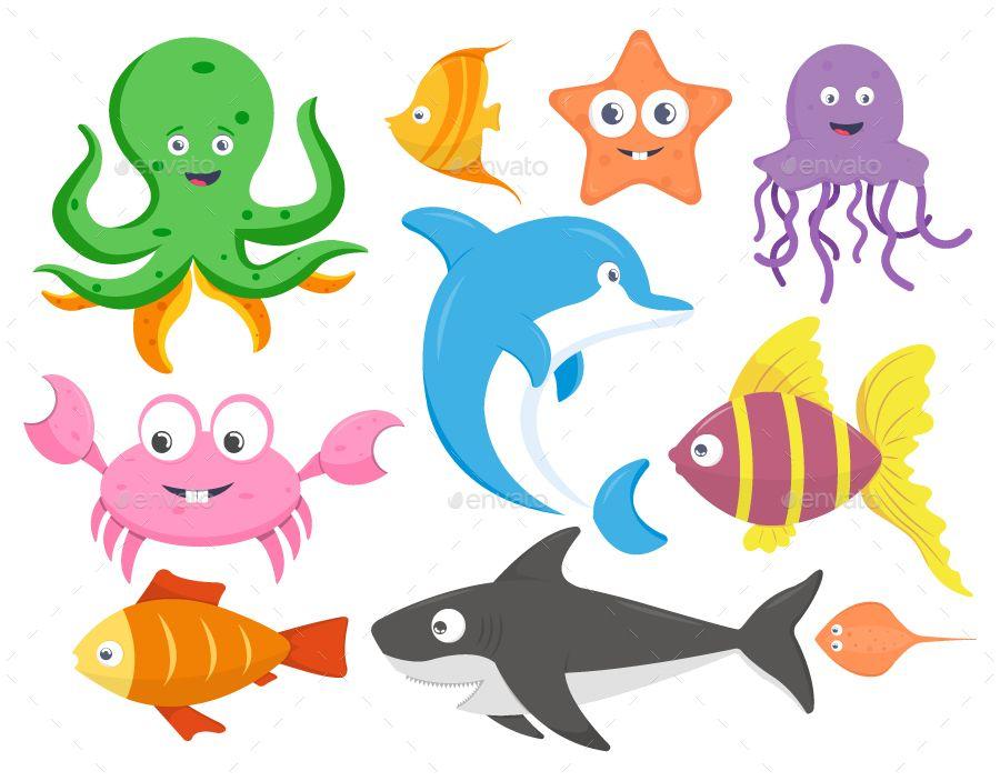 Set Of Sea Animals Cartoon Vector Illustration Vektornaya Grafika Grafika
