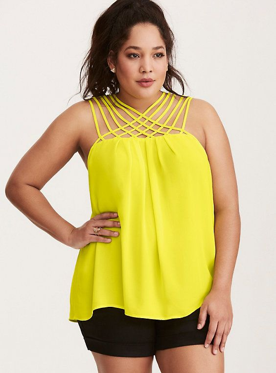 262043040fa Strappy Neck Georgette Tank Top in 2019 | Wantable Wish List Spring ...