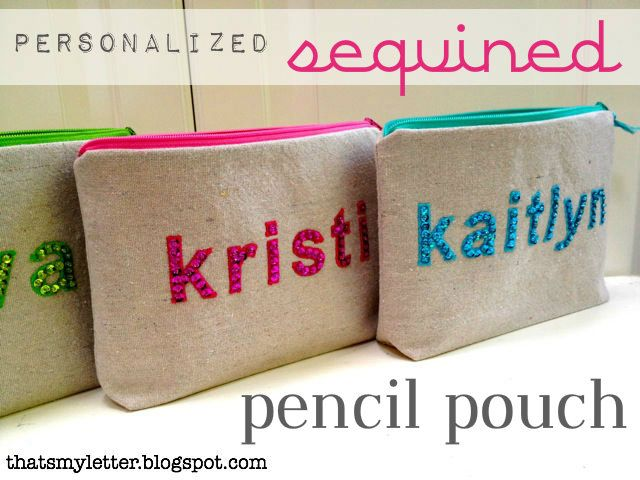 "That's My Letter: ""S"" is for Sequins, sequined pencil pouches"