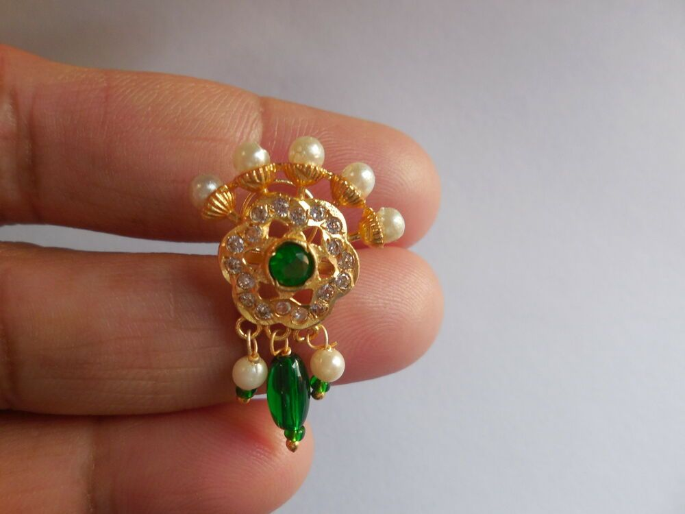 Decorated Big Nose Pin Indian Nose Stud Cork Back Piercing Jewelry