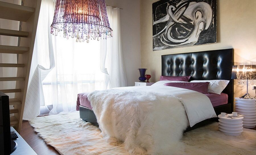 einrichtungsideen schlafzimmer schöne tischleuchten weißer teppich