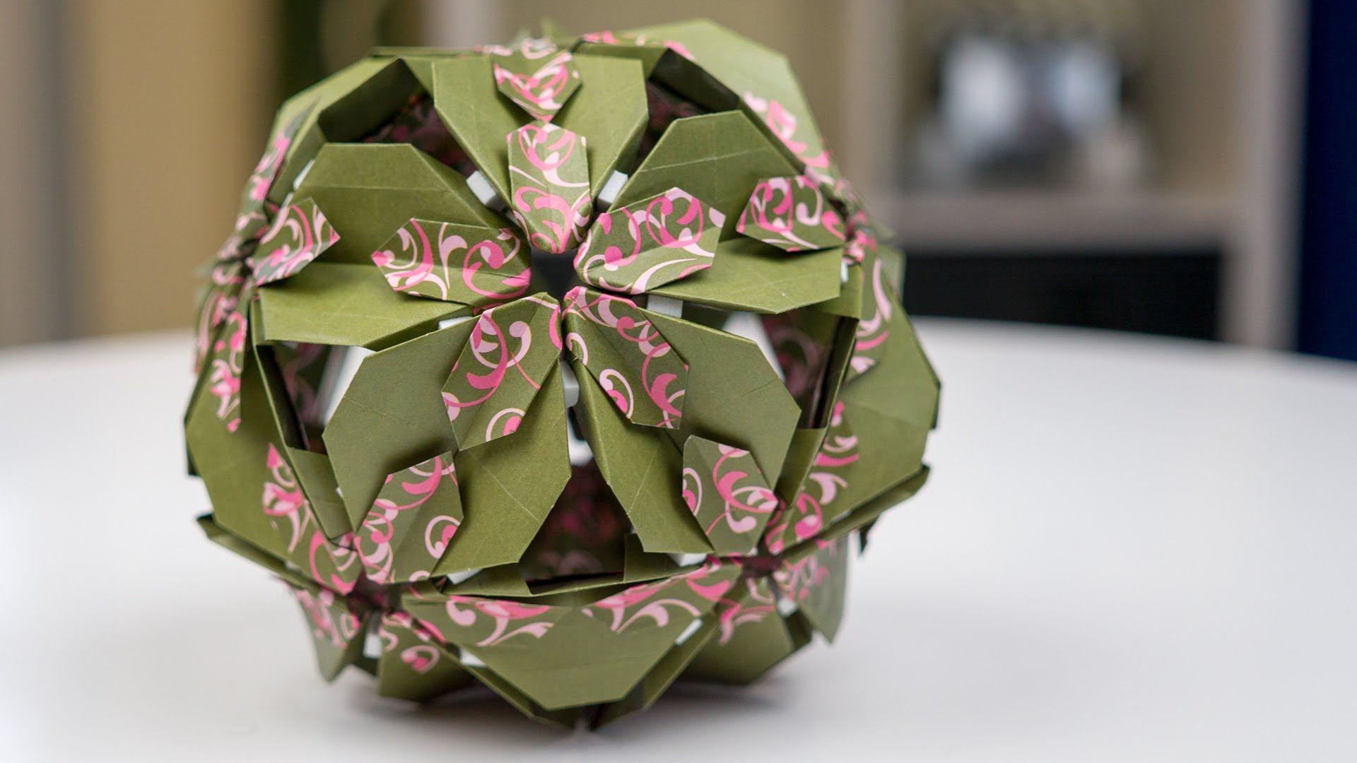 Basteln Mit Papier Origami Bltenkugel Falten Origami Palle