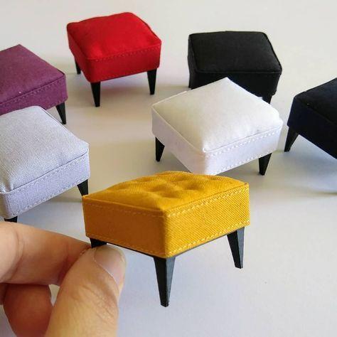 "Jessica on Instagram: ""Mini ottomans, 1:12th scale. #miniature #modernminiatures #dollhouse #dollhouses #miniatures #dollhousefurniture #miniaturefurniture…"" #dollhouseminiaturetutorials"