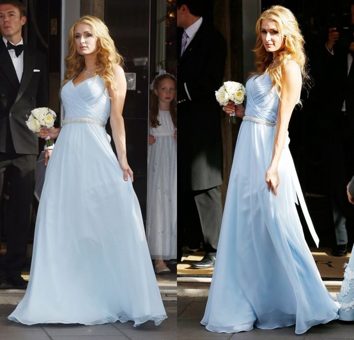 paris hilton en bleu pastel robe demoiselle d 39 honneur bridesmaid dresses robes de demoiselle. Black Bedroom Furniture Sets. Home Design Ideas
