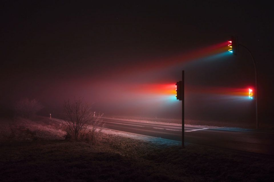 Street Light Art Traffic Signals Emit Surreal Rainbow Streams In - City streets glow in eerie night time photographs by andreas levers
