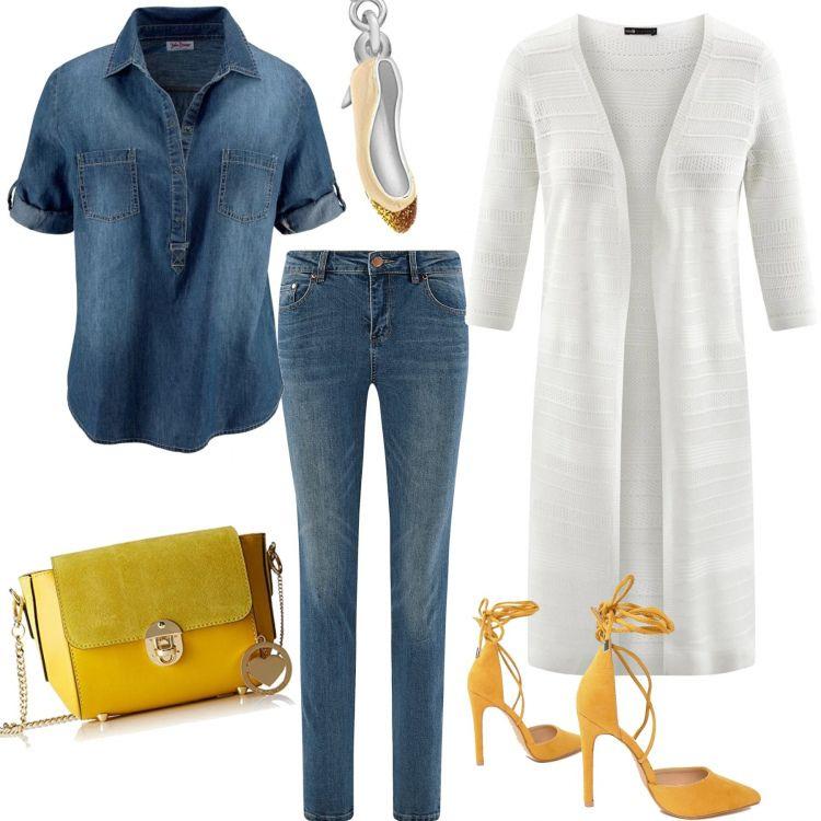 Outfit Jeans e scarpe gialle | Stile di moda, Moda jeans e