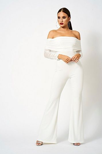 browse latest collections 2019 best online for sale Womens **Ruched Mesh Bardot Jumpsuit By Club L - White in ...