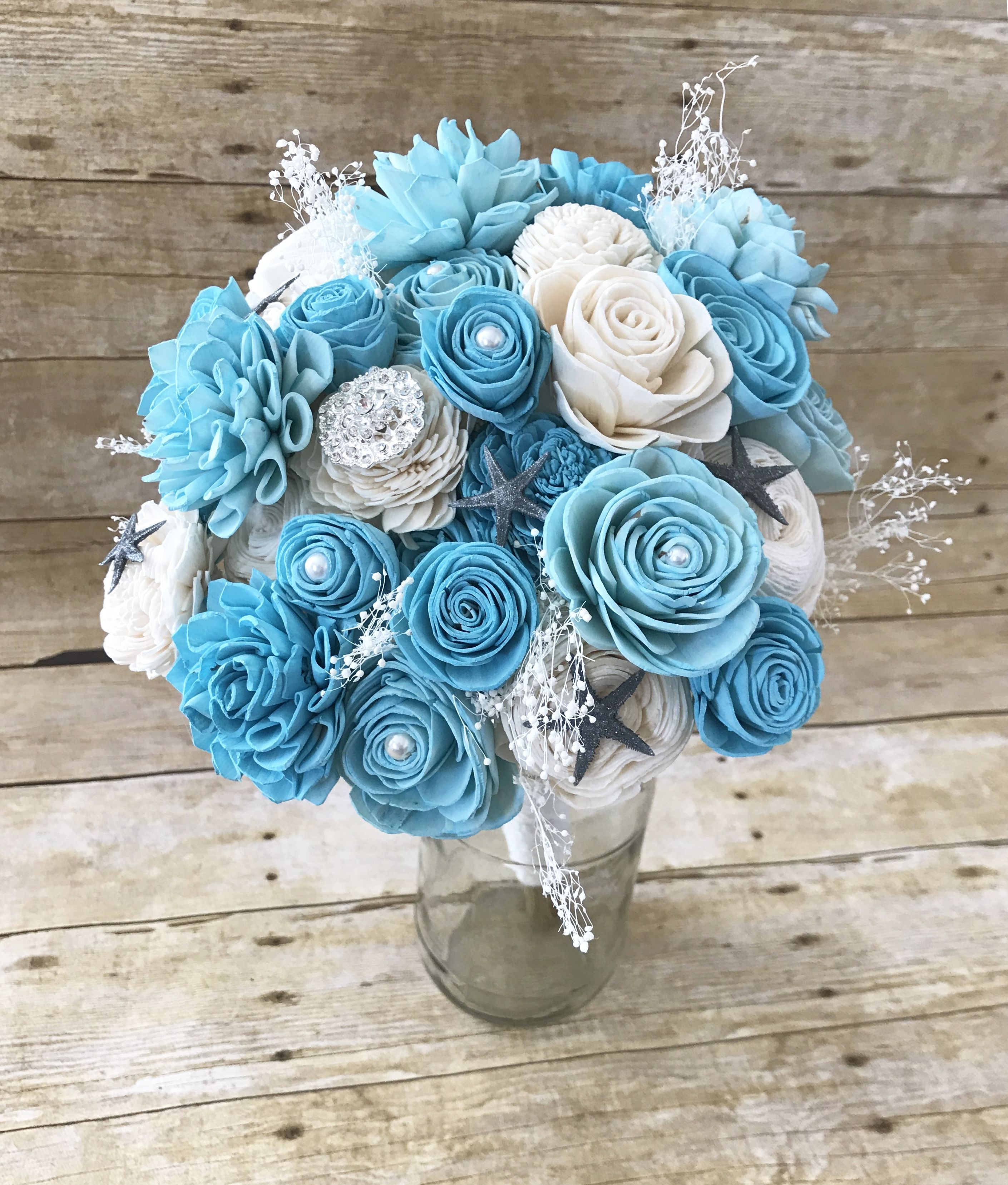 This Wood Flower Mermaid Bouquet Is The Perfect Addition For A Beach Themed Wedding Pearls And Beach Theme Wedding Flower Bouquet Wedding Silk Flowers Wedding