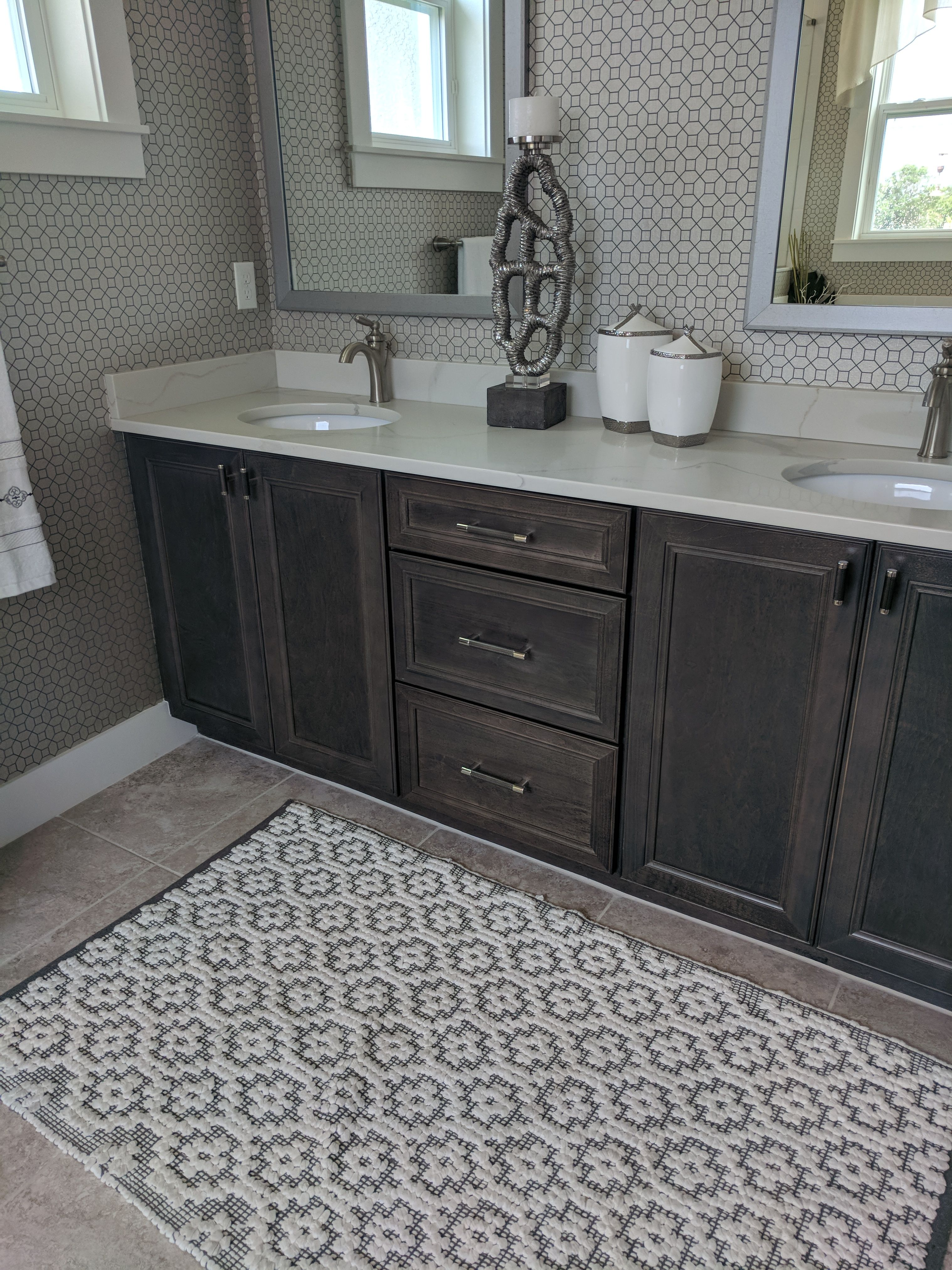 Best Earl Grey Stained Cabinets Maple Bathroom Vanity 400 x 300