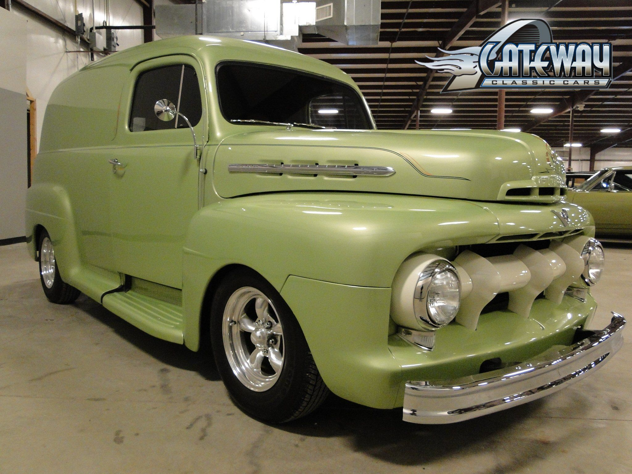 For sale in our louisville kentucky showroom is a cyber green 1951 ford panel truck 350 cid olds auto