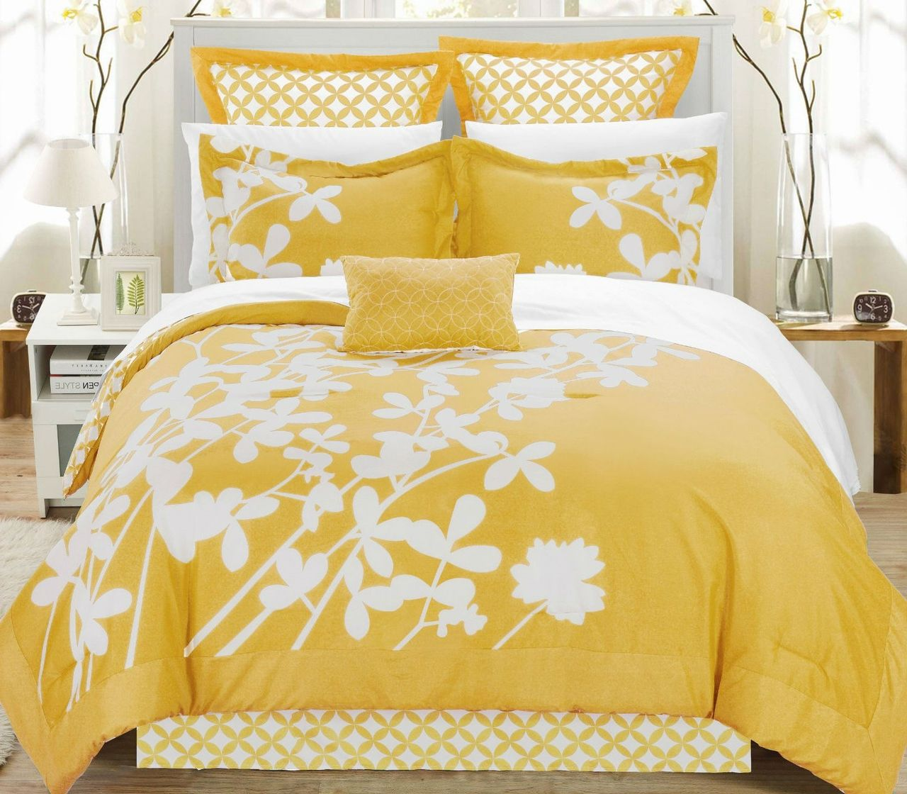 Queen Yellow 7 Piece Floral Bed In A Bag Comforter Set With