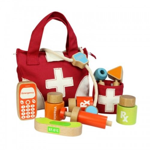 This realistic-looking Doctor Kit has everything a little doctor would need for house calls.  It includes a stethoscope, syringe, mobile phone, thermometer and more. This product is made from sustainable European beech and plywood.