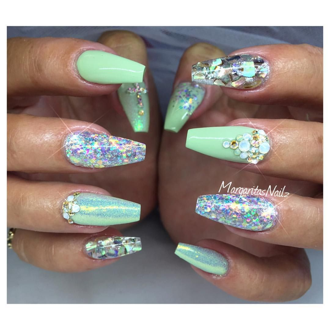pastel green coffin nails glitter