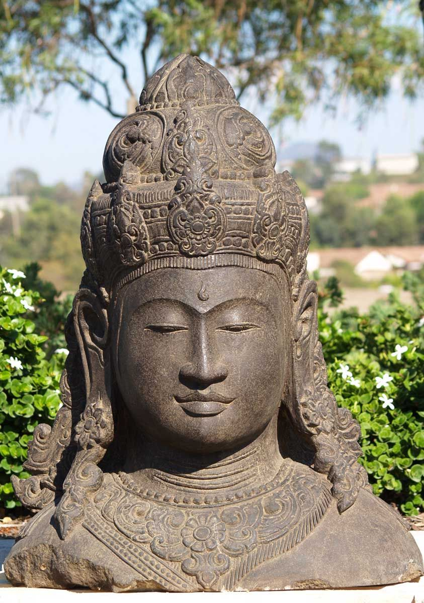 View The Detailed Stone Bust Of Lord Shiva 36. Stone StatuesStone  SculpturesLord ShivaGarden ...