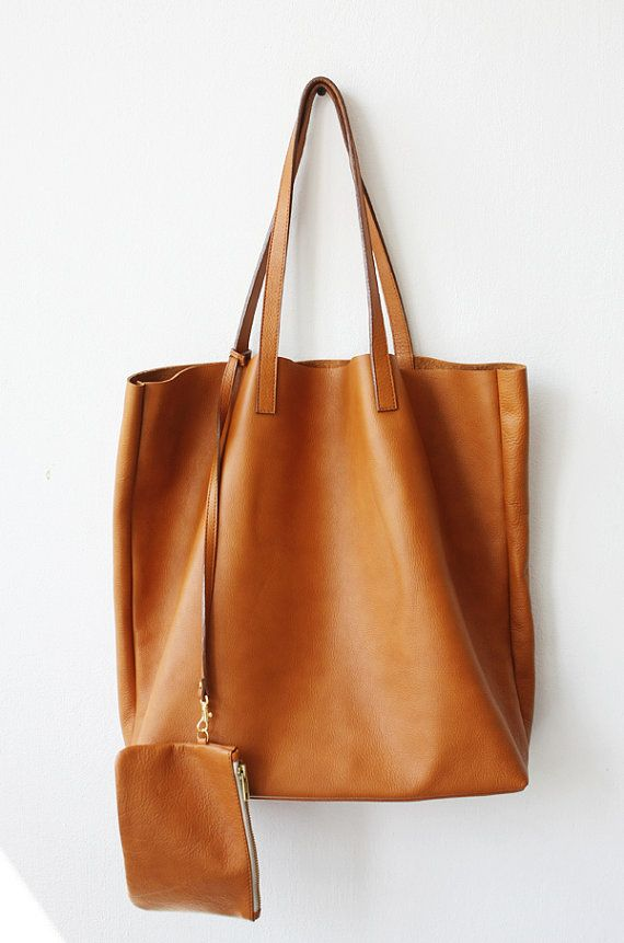 Large Camel Leather Tote Bag Unlined Domi Limited By Mishkabags