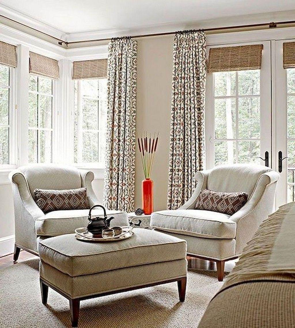 35 Pretty Living Room Curtain Design Ideas For Cozy Place ... on Farmhouse Curtain Ideas For Living Room  id=60454