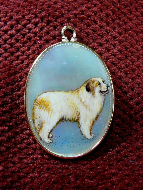 Cameo Necklace Dog Pendant  Hand Painted  by SylCameoJewelsStore