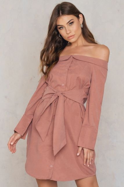 Sale Official Site Online Shop Boohoo Off The Shoulder Tie Front Shirt Dress Buy Cheap High Quality OZLo79r