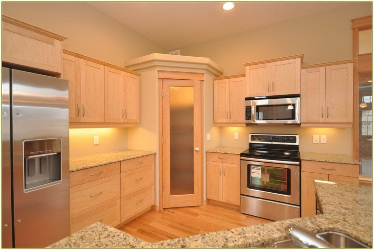 Classic Kitchen Ideas With Maple Wood Frosted Glass Food Pantry Cabinet And Stainless Steel Corner Pantry Cabinet Corner Kitchen Pantry Corner Kitchen Cabinet