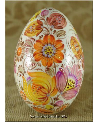 Pysanka Petrykivka Ukrainian Hand Painted Goose Egg