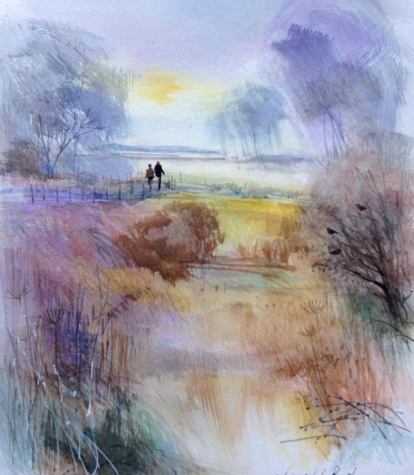 """BARR BEACON WALSALL WEST MIDS WATERCOLOUR ARTISTS PRINT GREETINGS CARD 8/""""x 6/"""""""