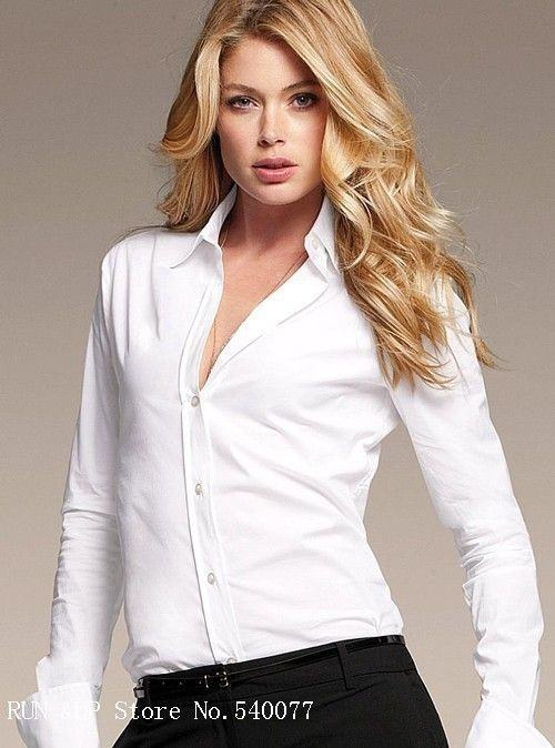 Satin Blouse White Ladies Dress