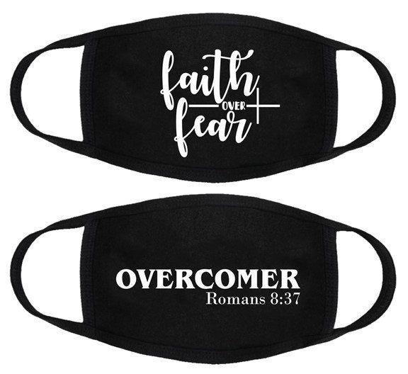 Photo of Overcomer, Christian Face Mask, Roman Face Mask, Black Unisex Washable Reusable Cotton Face Mask