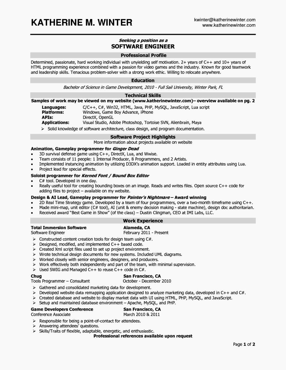 Inspirational experience resume format for software